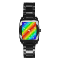 Background Diagonal Refraction Stainless Steel Barrel Watch