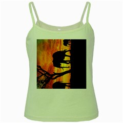 Family Of African Elephants Green Spaghetti Tank