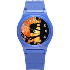 Family Of African Elephants Round Plastic Sport Watch (s)