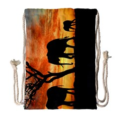 Family Of African Elephants Drawstring Bag (large)