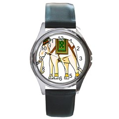 Elephant Indian Animal Design Round Metal Watch