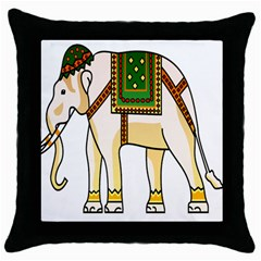 Elephant Indian Animal Design Throw Pillow Case (black)