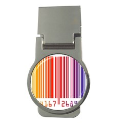 Colorful Gradient Barcode Money Clips (round)  by Samandel