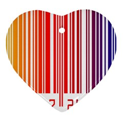 Colorful Gradient Barcode Heart Ornament (two Sides) by Samandel