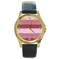 Striped Shapes Wide Stripes Horizontal Geometric Round Gold Metal Watch