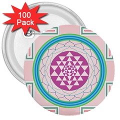 Mandala Design Arts Indian 3  Buttons (100 Pack)