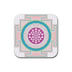 Mandala Design Arts Indian Rubber Square Coaster (4 Pack)
