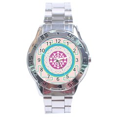 Mandala Design Arts Indian Stainless Steel Analogue Watch