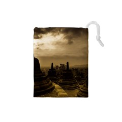 Borobudur Temple  Indonesia Drawstring Pouch (small)