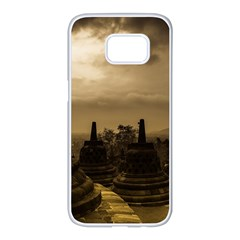 Borobudur Temple  Indonesia Samsung Galaxy S7 Edge White Seamless Case