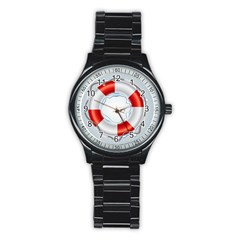 Spare Tire Icon Vector Stainless Steel Round Watch