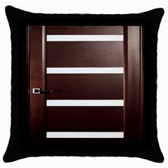 Minimalis Brown Door Throw Pillow Case (black)