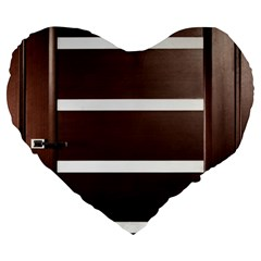 Minimalis Brown Door Large 19  Premium Flano Heart Shape Cushions