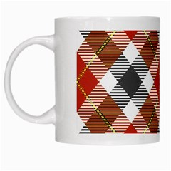 Smart Plaid Warm Colors White Mugs by ImpressiveMoments
