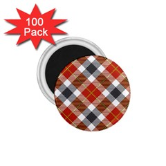Smart Plaid Warm Colors 1 75  Magnets (100 Pack)