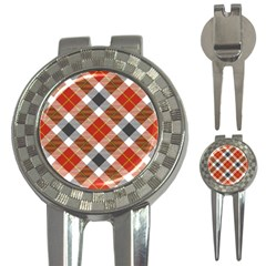 Smart Plaid Warm Colors 3 In 1 Golf Divots by ImpressiveMoments