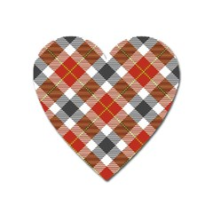Smart Plaid Warm Colors Heart Magnet by ImpressiveMoments