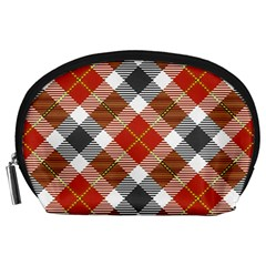 Smart Plaid Warm Colors Accessory Pouch (large) by ImpressiveMoments