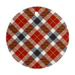 Smart Plaid Warm Colors Ornament (round) by ImpressiveMoments