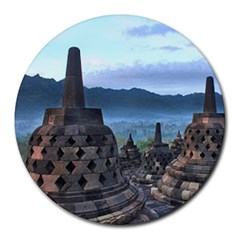 Borobudur Temple  Morning Serenade Round Mousepads by Samandel