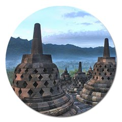 Borobudur Temple  Morning Serenade Magnet 5  (round)