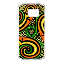 Celtic Celts Circle Color Colors Samsung Galaxy S7 Edge White Seamless Case by Samandel