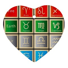 Set Of The Twelve Signs Of The Zodiac Astrology Birth Symbols Ornament (heart) by Samandel