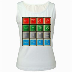 Set Of The Twelve Signs Of The Zodiac Astrology Birth Symbols Women s White Tank Top