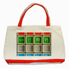 Set Of The Twelve Signs Of The Zodiac Astrology Birth Symbols Classic Tote Bag (red)