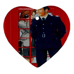 Red London Phone Boxes Heart Ornament (two Sides)