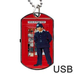 Red London Phone Boxes Dog Tag Usb Flash (two Sides)