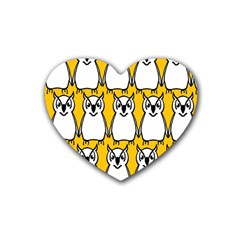 Yellow Owl Background Heart Coaster (4 Pack)