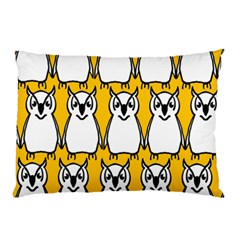 Yellow Owl Background Pillow Case