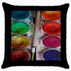 Paint Box Throw Pillow Case (black)