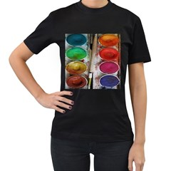 Paint Box Women s T Shirt (black) (two Sided) by Samandel