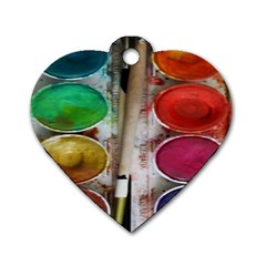 Paint Box Dog Tag Heart (one Side)