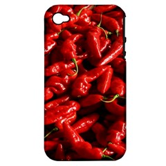Red Chili Apple Iphone 4/4s Hardshell Case (pc+silicone)