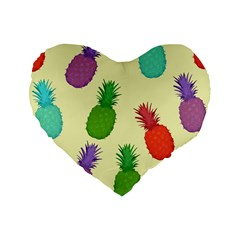 Colorful Pineapples Wallpaper Background Standard 16  Premium Flano Heart Shape Cushions by Samandel