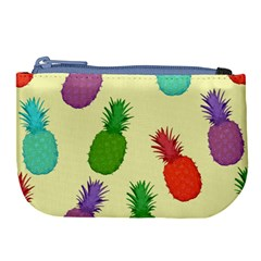 Colorful Pineapples Wallpaper Background Large Coin Purse