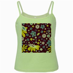 Floral Flowers Green Spaghetti Tank