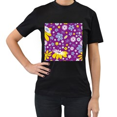 Floral Flowers Women s T Shirt (black) (two Sided)