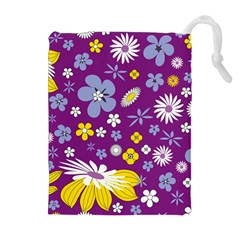 Floral Flowers Drawstring Pouch (xl)