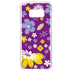 Floral Flowers Samsung Galaxy S8 White Seamless Case
