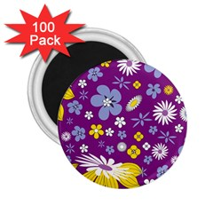 Floral Flowers 2 25  Magnets (100 Pack)