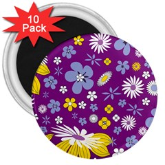 Floral Flowers 3  Magnets (10 Pack)