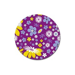 Floral Flowers Magnet 3  (round)