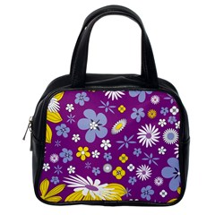 Floral Flowers Classic Handbag (one Side)