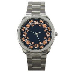 Floral Vintage Royal Frame Pattern Sport Metal Watch