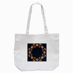 Floral Vintage Royal Frame Pattern Tote Bag (white)