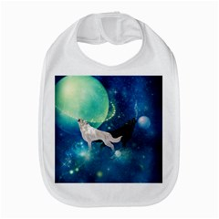 Awesome Black And White Wolf In The Universe Bib